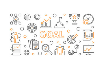Goal concept creative horizontal banner. Vector business illustration in thin line style