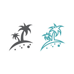 Two vector illustrations of palm trees. Set of vector symbols. Rest in five-star hotel. Flat design Monohrome
