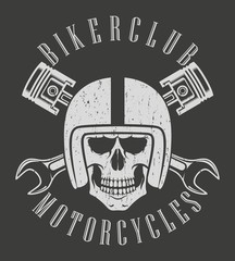 Biker emblem. Skull in the helmet pistons and keys chain and text with antique texture