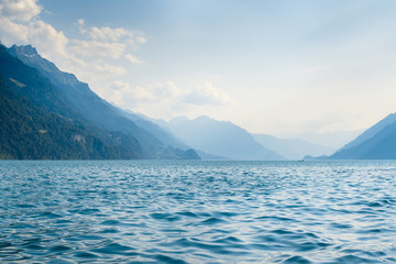 A beautiful view of Interlaken. Lake in Brienz at the mountains, in Switzerland