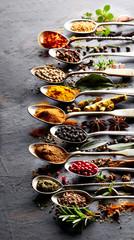 Fotorolgordijn Kruiden Spices with herbs in closeup