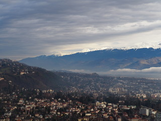 Sea of clouds above the city of Grenoble, France