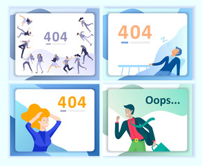 Set of Landing page templates Error page illustration with People characters. Page not found. Vector concept illustration for 404 error with Funny cartoon workers