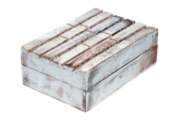 Closeup vintage texture wooden old weathered aged empty closed rectangular box casket isolated on white background. Concept container for jewelry, sweets, scandi decor for home, hygge, interior
