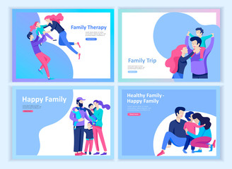 Set of Landing page templates happy family, travel and
