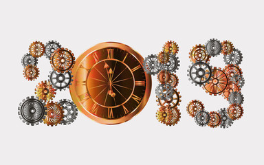 Inscription New Year 2019 in the style of steampunk. Vector illustration.