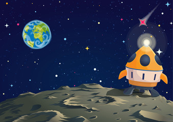 Lunar ground illustration with rocket and Earth sight. Vector cartoon illustration