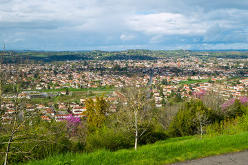 View over Villeneuve-sur-Lot from Pujols, Lot-et-Garonne, France