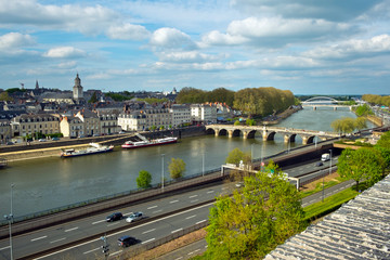 The Maine river and Angers city, Maine-et-Loire, France