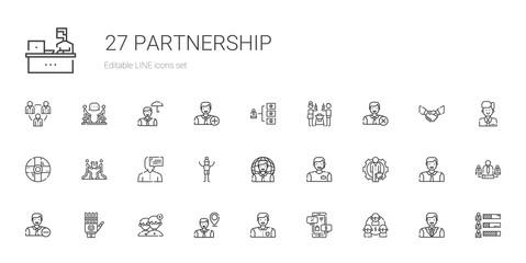 partnership icons set