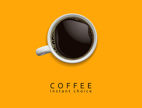 Coffee advertising design. White porcelain cup of coffee with foam on a yellow background. High detailed realistic illustration