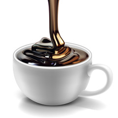 A glossy stream of chocolate pours into a white porcelain cup. Realistic volumetric illustration.