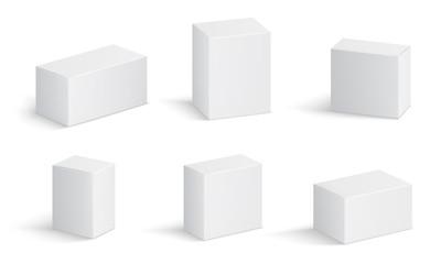 White cardboard boxes. Blank medicine package in different sizes. Medical product square box 3d vector isolated mockups. Container package, cardboard box, mockup compact block illustration