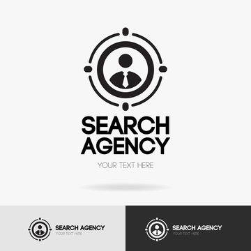 Search agency logo isolated on white background for hiring, headhunter website, recruitment, employment agency, hr, job search, recruiting concept. Search man vector icon. Employee symbol. 10 eps