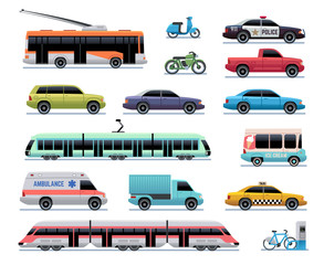 City transport. Cartoon car, bus and truck, tram. Train, trolleybus and scooter. Urban vehicle vector transportation collection. Illustration of transport bus and tram, ambulance machine