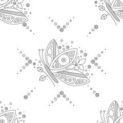 Vector hand drawn black and white seamless pattern, illustration of butterfly with decorative geometrical elements, lines, dots. Line drawing. Graphic design.