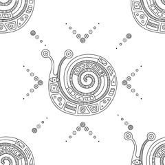 Vector hand drawn black and white seamless pattern, illustration of snail with decorative geometrical elements, lines, dots. Line drawing. Graphic artistic design.