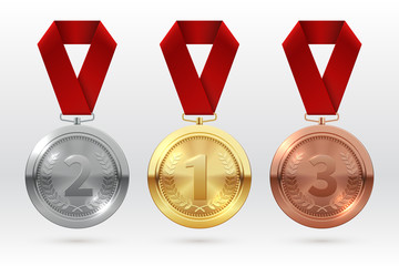 Sports medals. Golden silver bronze medal with red ribbon. Champion winner awards of honor vector isolated template. Illustration of championship trophy, champion medal of set