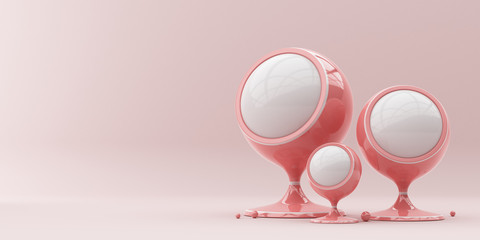 Abstraction white balls on a stand on a pink background. 3d render illustration. Illustration for advertising.