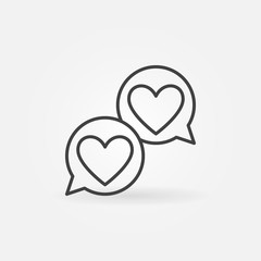 Hearts in speech-bublle line icon. Vector two speech bubbles with hearts Like concept outline symbol