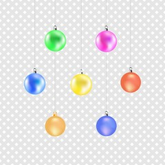 Christmas color ball. Colorful decoration illustration on gray background. Symbol merry christmassy and celebration winter, for card. Isolated graphic element. 3D vector image. Vector illustration.