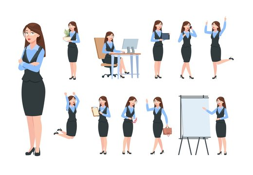 Businesswoman characters. Office professional woman, female in different poses of business activity. Flat cartoon manager vector set. Illustration of woman office, character manager jump and work