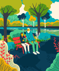 Grandfather with grandson sitting on bench in park and reading book. Vector illustration