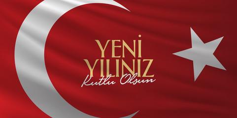 Happy New Year Typographical Cretaive Background. (TR: Yeni Yiliniz Kutlu Olsun)
