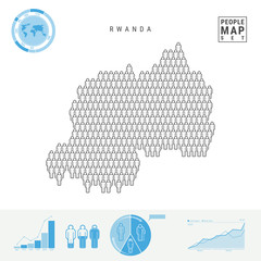 Rwanda People Icon Map. Stylized Vector Silhouette of Rwanda. Population Growth and Aging Infographics