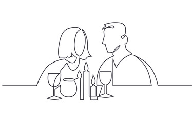 Couple drinking wine continuous one line vector drawing. Lovers. Romantic date.