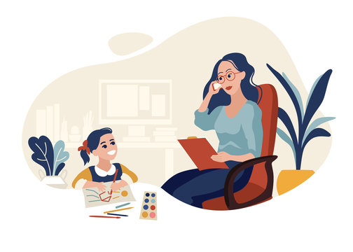 Working mother with daughter flat vector illustration
