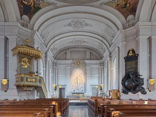 Interior of Adolf Fredrik Church (Adolf Fredriks kyrka) in Stockholm, Sweden. The current church was build in 1768-1774 by design of Carl Fredrik Adelcrantz and consecrated on November 27, 1774.
