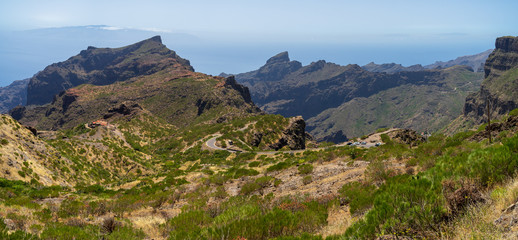 Panoramic view of the Macizo de Teno mountains, Masca Gorge and mountain road to the village of Maska. Tenerife. Canary Islands. Spain. View from the viewpoint - Mirador De Cherfe.