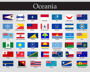 Flags of Oceania, all countries in original colors.