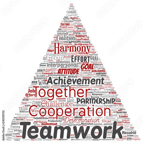 Vector conceptual teamwork management triangle arrow red partnership