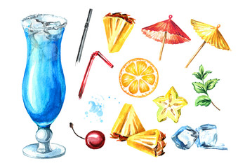 Blue lagoon cocktail with decor elements set. Watercolor hand drawn illustration isolated on white background