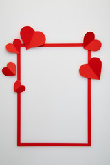 Red heart paper love of red frame