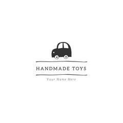 Toy cute car. Hand drawn premade logo template.