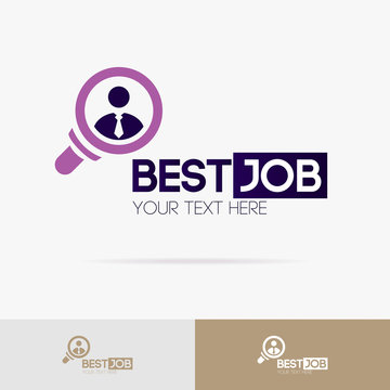 Best job sign vector set isolated on background for hiring, headhunter website, recruitment, employment agency, hr, recruiting concept. Search man icon. Employee symbol. 10 eps