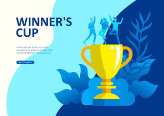 Set Landing page template people develop, business app, winners cup, financial consultant research, cooming soon start up and solution. Vector illustration concept website mobile development