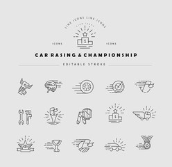 Vector icon and logo for car racing and championship. Editable outline stroke size. Line flat contour, thin and linear design. Simple icons. Concept illustration. Sign, symbol, element.
