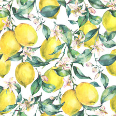 Watercolor vintage seamless pattern, branch of fruit lemon