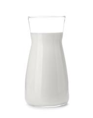 Cruet with fresh milk on white background