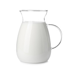 Jug with fresh milk on white background