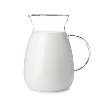 Jug with fresh milk on white background