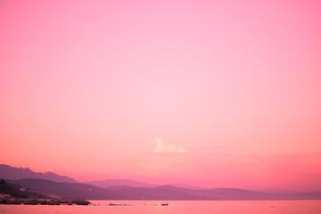 Keuken foto achterwand Candy roze Beautiful sea, pink sunset, nature, summer