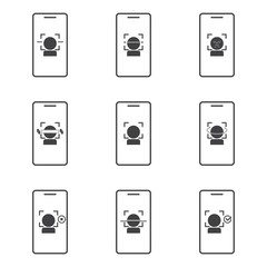 Face, facial recognition system icon set. Biometric identification. Smartphone scans a person face symbol.