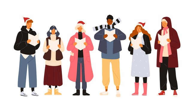 Choir or group of cute men and woman dressed in outerwear singing Christmas carol, song or hymn. Smiling street singers or carolers isolated on white background. Holiday flat vector illustration.