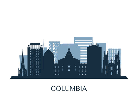Columbia skyline, monochrome silhouette. Vector illustration.