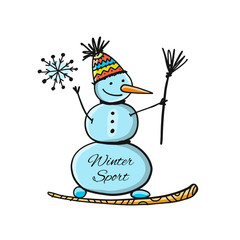 Snowboarder snowman, sketch for your design